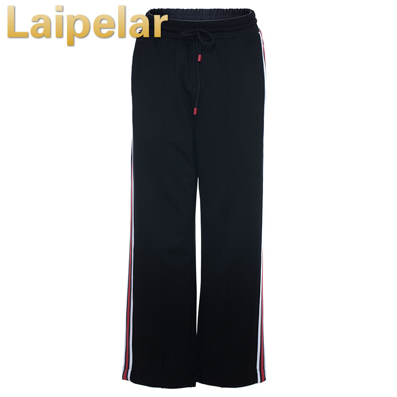 Women Ankle Length Pants Fashion High Waist Ladies Wide Leg Pants Elastic Waist Stretchy Stripe Casual Pants Trousers Laipelar in Pants amp Capris from Women 39 s Clothing