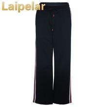 Women Ankle Length Pants Fashion High Waist Ladies Wide Leg Elastic Stretchy Stripe Casual Trousers Laipelar