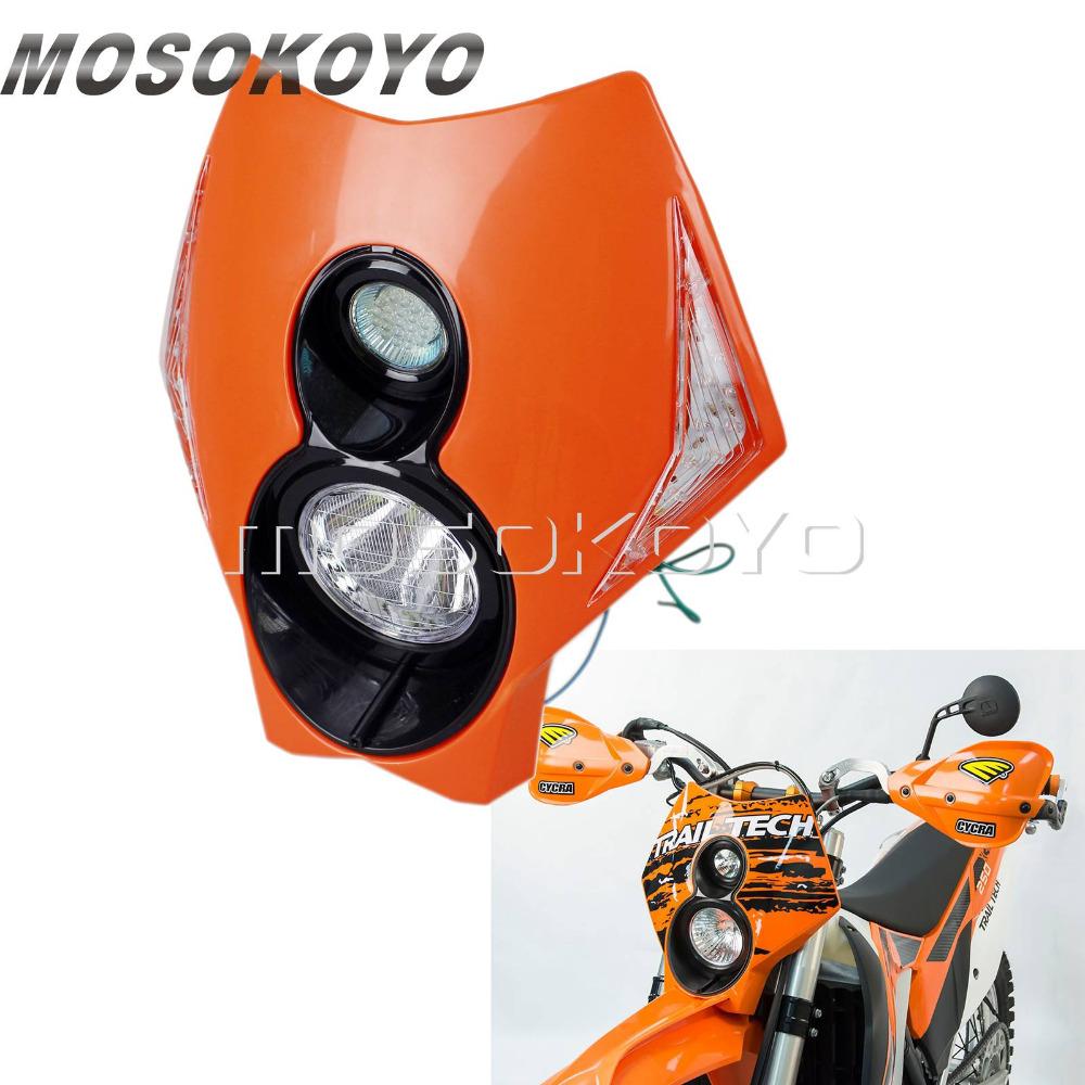Orange Motorcycle Motocross Dirt Bike Twin X2 Headlight LED Indicator for KTM EXC XC-F 250 450 350 Supermoto Headlamp