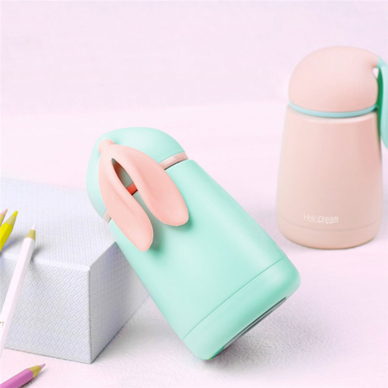 TTLIFE Cute Rabbit Style Mini Thermos Cup Stainless Steel Mug Portable Travel Vacuum Cup 300ml Christmas