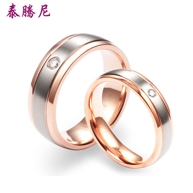Thailand Teng Nepal pure titanium couple rings rose gold lettering
