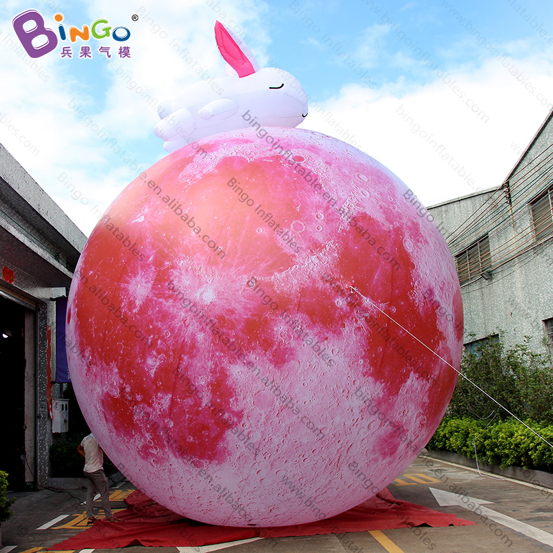Personalized 6 Meters Inflatable Moon Ball With White Rabbit Promotional 20ft. Moon Balloon Inflatables For Display Toys