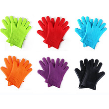 2pcs/set Heat Resistant Silicone Glove Cooking BBQ Oven Pot Holder Mitt Kitchen Five Fingers Insulated Slip Baking Tools Glove