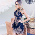 High Neck Sexy Lace Cocktail Dresses 2017 vestidos de renda curto Appliques Sheath Mini Party Gowns Dresses robe de cocktail