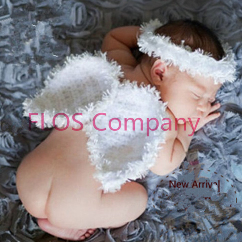 Christmas 2pcs angel wings+hairband Clothes baby set Toddlers handmade newborn infantil photography props new chic