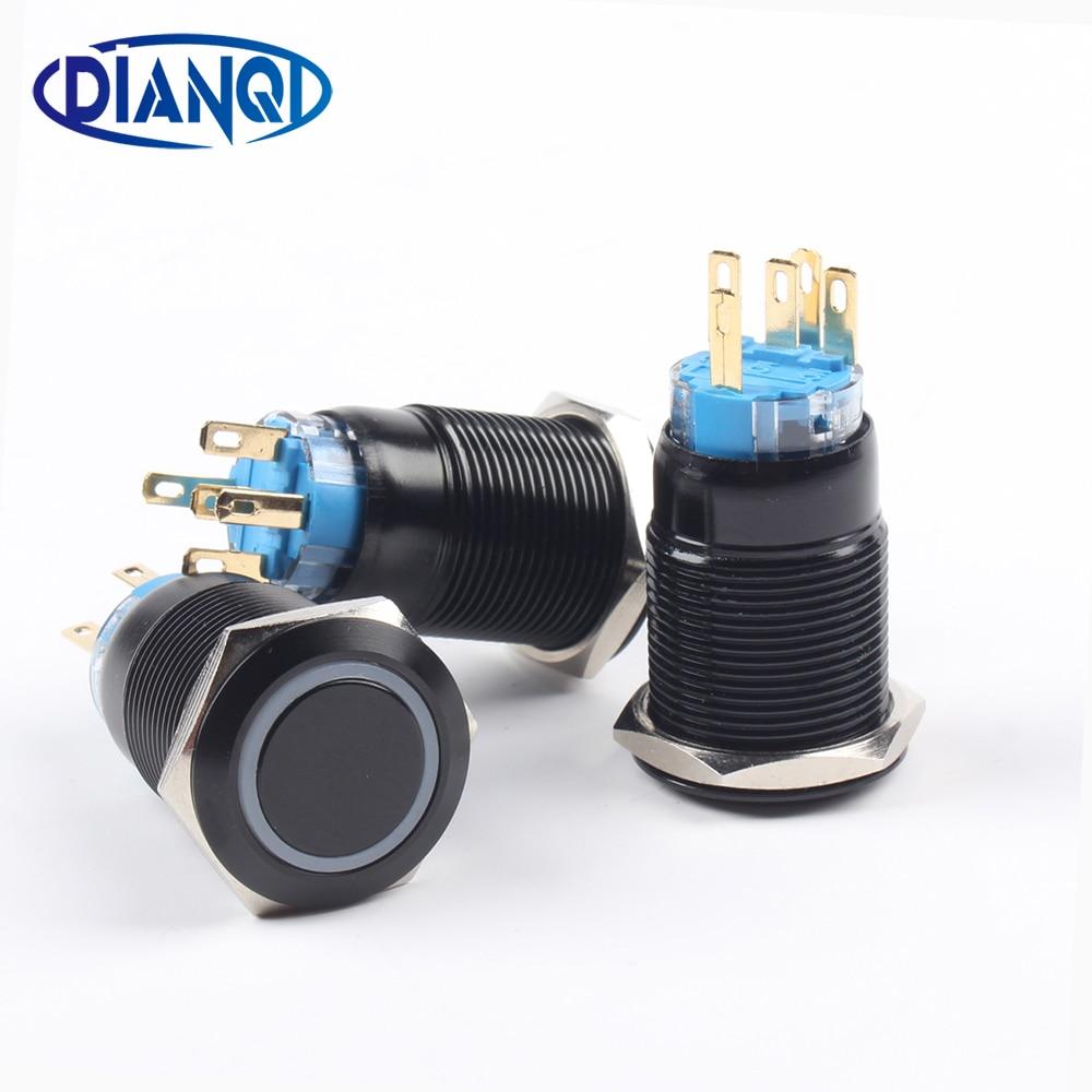 19mm Alumina Black Push Button With Ring Light Pushbutton Waterproof Press Button Momentary/Latching Switch 19HX.BK