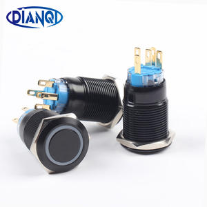19mm Alumina black push button with ring light pushbutton waterproof press button momentary/Latching switch 19HX.BK(China)