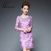 Spring Of 2017 New 3D Mesh Embroidery Bodycon Dress With Plus Size 5XL Lace Hollow Vintage
