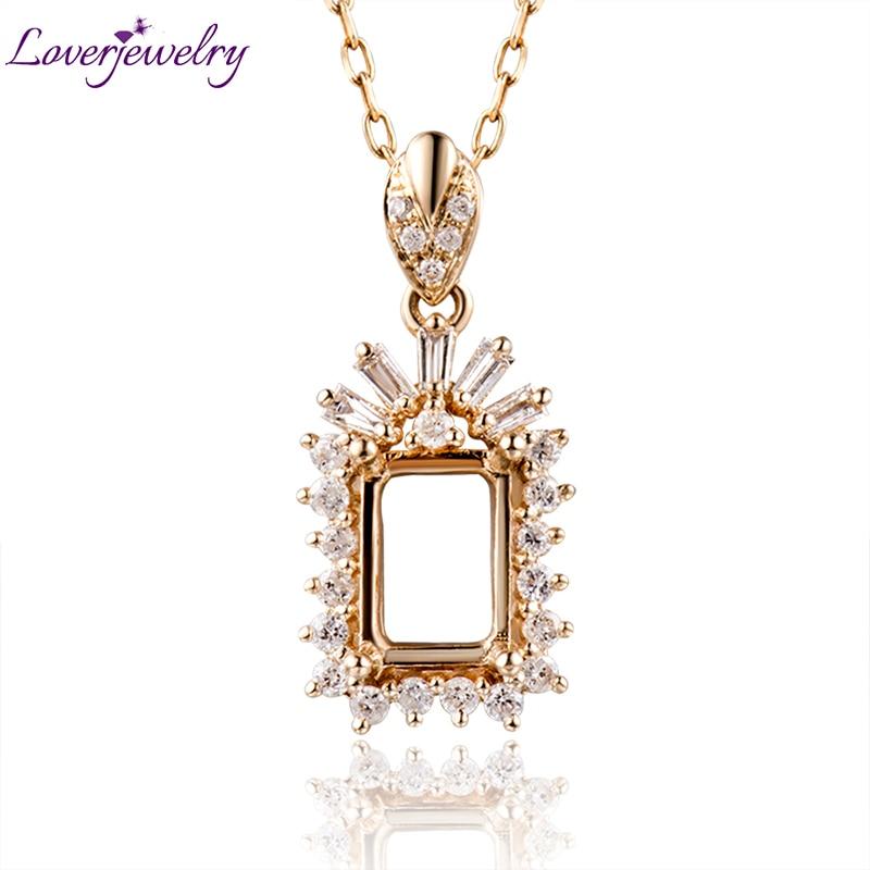 Emerald Cut 5x7mm Diamond Setting Pendant 18kt Yellow Gold
