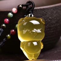 Wholesale JoursNeige Yellow Natural Crystal Pendant Carved Pig Pendant Necklace Lucky for Women Men Fashion Crystal Jewelry