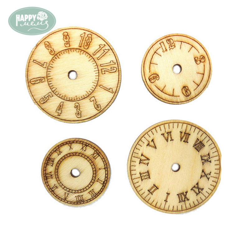 Happymems Clock Wooden Shapes 24pcs Wood Craft Chipboard DIY Craft Laser Cut Craft Embellishment For DIY Decorations Wood Shape