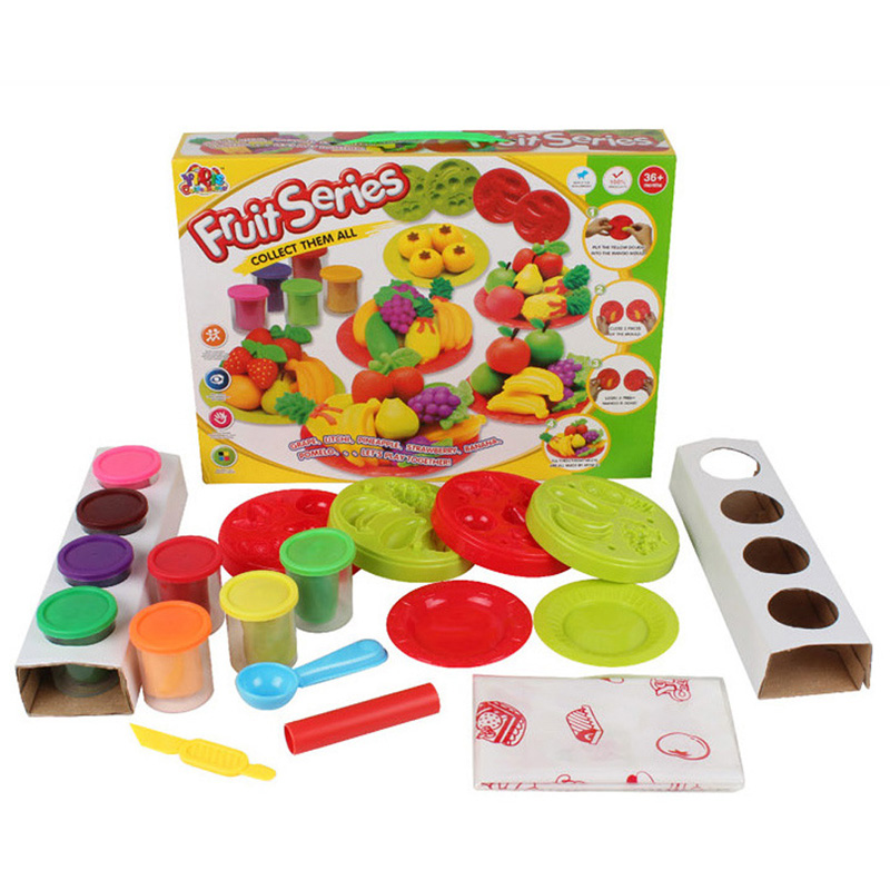 8 Colors Colorful 3D Playdough Kids Toy Plasticine Clay Play Dough Set Puzzle Fruit Playdough Set with Playdough Tools
