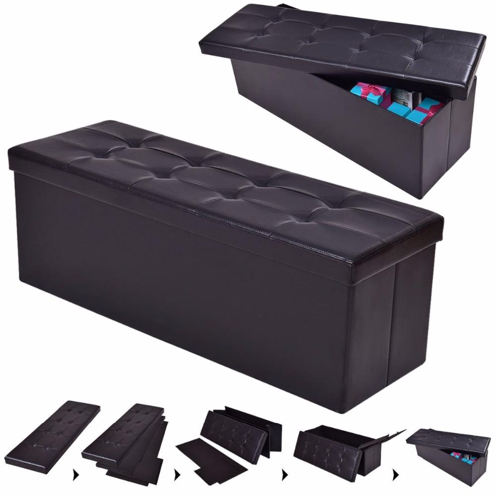 Fabulous Giantex 43X15X15 Large Folding Storage Pu Leather Ottoman Inzonedesignstudio Interior Chair Design Inzonedesignstudiocom
