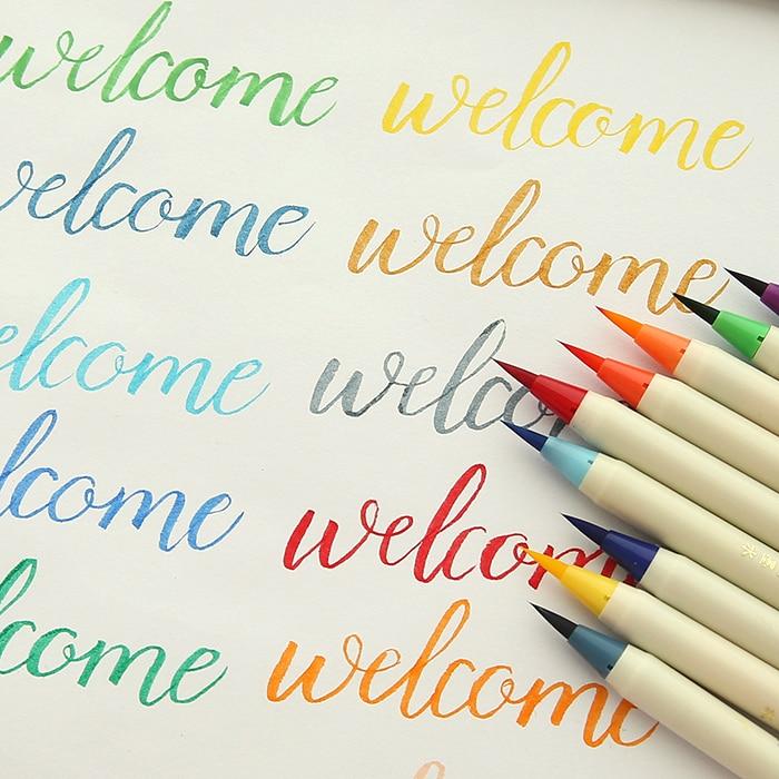 NEW 20 Colors Calligraphy Pens Soft Brush Marker Watercolor Brush Marker Graffiti Manga Drawing Art Marker