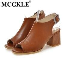 2016 New Brand Chunky Heel Sandals Women Summer PU Leather Peep Toe Slingbacks Buckle Fashion Comfort Shoes Woman Plus Size34-43