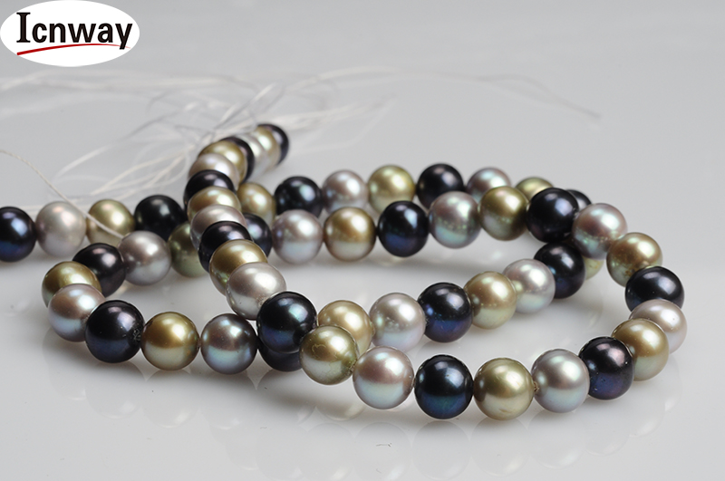 freshwater Pearl 12-13mm 15inches Diy Necklace Wholesale grey Peacock Green And Blue Freeshipping Natural Round Aa Black