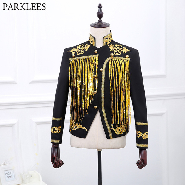 5c382e056 Men s Gold Sequin Tassel Black Blazer Jacket 2018 Brand Stand Collar  Embroidery Suit Blazer Men Prom Stage Wedding Costume Homme