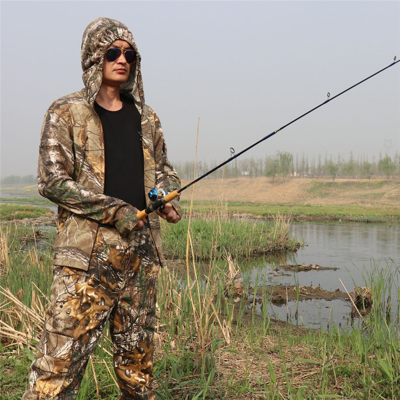 Cotton Breathable Bionic Camouflage Long Sleeve T-Shirt Pants Set Hunting Fishing Hiking Sunscreen Hooded T-Shirt Ghillie Suits