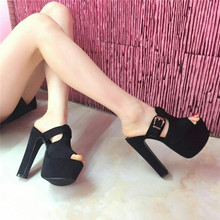 15cm sexy super high heels nightclubs T Taiwan model leather buckle thick with waterproof sandals and slippers sandals