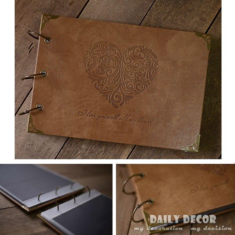 100% Salut-Q Vintage pu en cuir photo album diy amour coeur de mariage album photo mignon photo album de mariage cadeau avec PP en plastique poche
