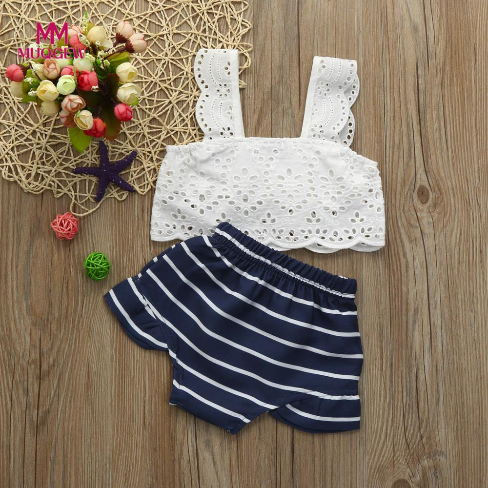 Newborn Kids Baby Girls Clothes Set Outfits Hollow Sleeveless Summer Girl Costume White T-shirt Top Striped Shorts Pants 2PCs baby girl summer clothes 2018 kids girls clothes set two pcs t shirt striped shirt 5 6 8 10 12 year girls boutique outfits