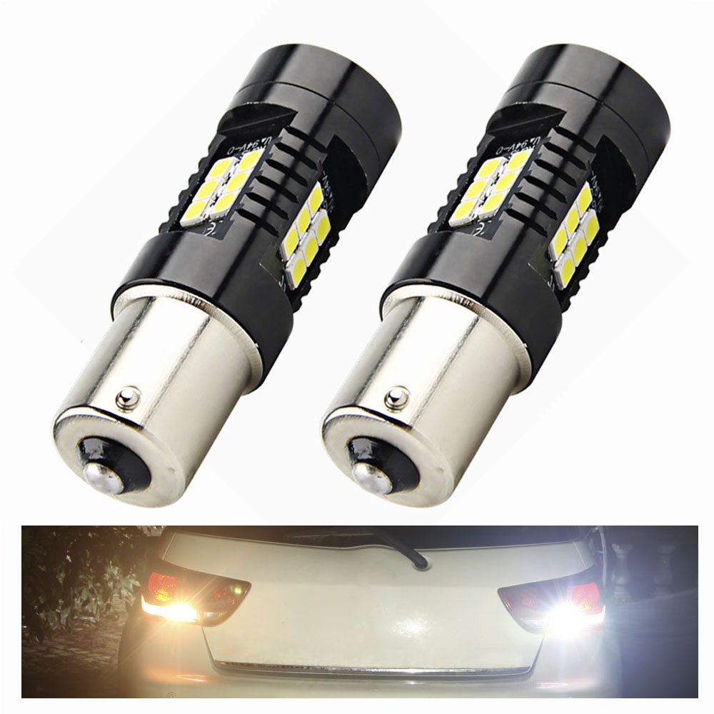 2X P21W LED 1156 BA15S Auto LED Bulbs Car Lights 1200LM Turn Signal Reverse Brake Light R5W 3030 LEDs 12V -24V Automobiles Lamp 50pcs lot 50n03 50n03a to252
