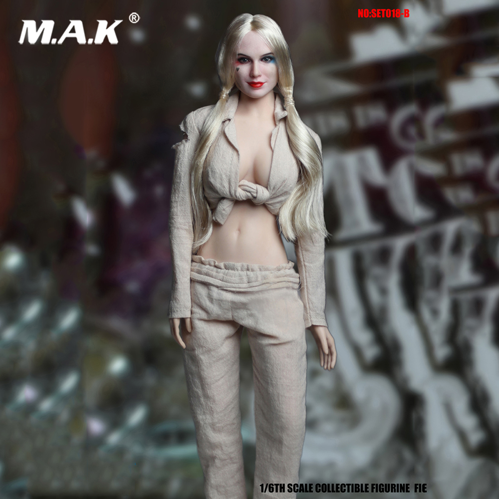 1:6 Scale SET018-B Harley Quinn Prison Clothing Sets with Head Carving for 12 inches Action Figure 1 6 scale suicide squad harley quinn clothes set with head sculpt for female 12 inches action figure bodies
