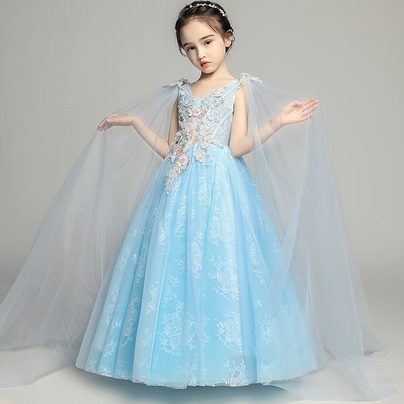 Luxury Holy Communion Dress V-neck Ball Gown Flower Girl Dresses for Wedding Appliques Detachable Shawl Kids Evening Gowns B185 цены