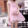 2017 NEW Summer Pegnant Women Pink Chiffon Dress Loose V-Neck Sleeveless Casual Maternity Mini Dress M-XL FCI#