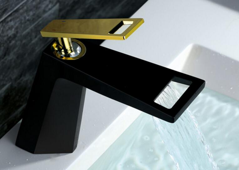 Free shipping black color Basin Faucet Deck Mounted Hot and Cold Single handle Torneira Banheiro Bathroom Sink Tap Mixer BF777Free shipping black color Basin Faucet Deck Mounted Hot and Cold Single handle Torneira Banheiro Bathroom Sink Tap Mixer BF777