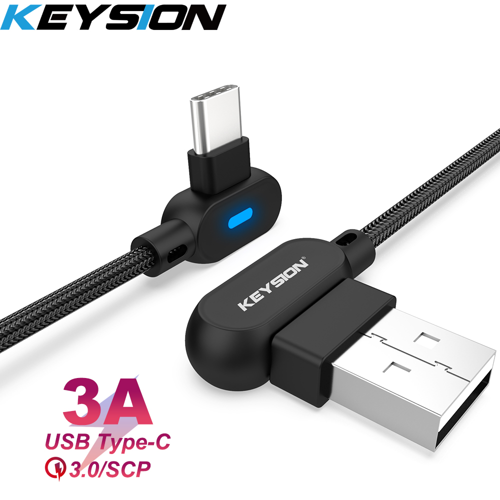KEYSION L-Type USB Type-C Cable For Samsung A50 A70 A30 S10 USB-C Mobile Phone Fast Charging