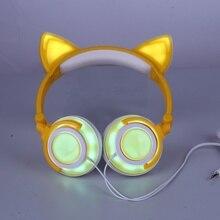 Складной мигает светящиеся наушники игровая гарнитура милый кот наушники с светодиодный свет для PC ноутбук мобильный телефон