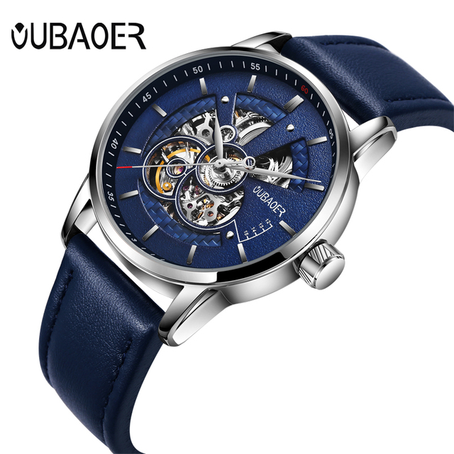 OUBAOER Original Men Watch Top Brand Luxury Automatic Mechanical Watch Leather Military Watches Clock Men Relojes Masculino 3