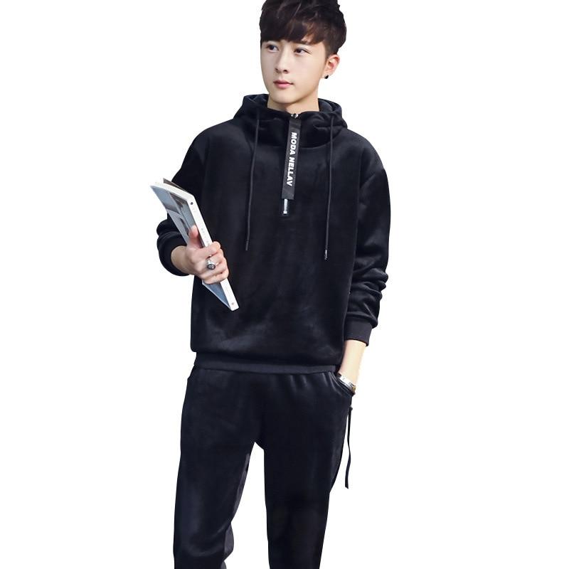 AmberHeard 2019 Fashion Men Sporting Suit Winter Hooded Sweatshirts+Pants Sportswear Fleece Thick 2 Piece Set For Men Tracksuits 29