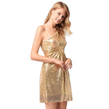Gold Dress Sequin 2018 Summer Bridesmaid Dresses Wryshoulder Sexy Backless Dress  Elegant Short D(China 8c739df12fa5