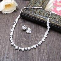Classic Heart Design Zircon Necklace Choker Bride Wedding Jewelry Sets AAA Cubic Zirconia Ear Clips Bijoux Women Party Parure