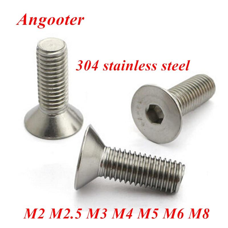 Parafuso de chave allen de aço inoxidável, 5-50 peças 304, parafuso plano din7991 m2 m2.5 m3 m4 m5 m6 m8 parafuso de cabeça escareado hex