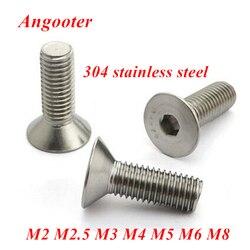 5-50pcs 304 stainless steel Allen key head flat screw DIN7991 M2 M2.5 M3 M4 M5 M6 M8 Hex socket flat countersunk head screw bolt