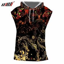 UJWI Man Summer 3D Printed Yellow Flowers And Leaves Sleeveless Vest Casual 7XL Clothes Mens Loose Hooded Tank Top