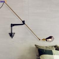 IWHD Antique Loft Industrial Wall Light Fixtures Iron Adjsutable Swing Long Arm Wall Lamp Vintage LED Rustic Sconces Arandela