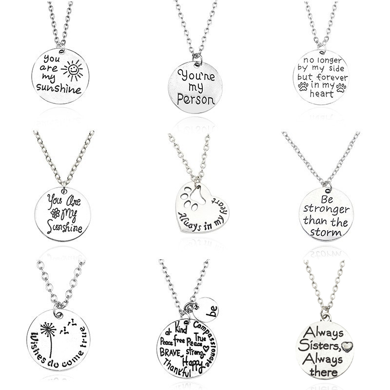 You Are My Sunshine Person Best Friends Pendant Dog Paw Footprint Love Heart Necklace For Women Sister Dad BFF Couple Jewelry