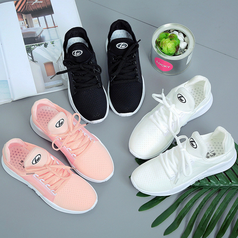 Women Casual Shoes Summer Spring Women Flats Shoes Fashion Breathable Hollow Lace-Up Women Sneakers black white pink xiaying smile woman sneakers shoes women flats spring summer thick sole embroider rose lace up black white student women shoes