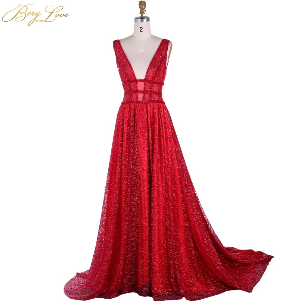 BeryLove A Line Sequin Red Prom Dresses 2020 Long Deep V Neck Prom Gowns Shiny Sparkle Formal Evening Dress Vestidos De Fiesta