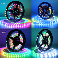 WS2812B LED Strip Individually Addressable RGB Smart Pixels  WS2812 IC Waterproof 5V 30/60/144 leds for car decorates