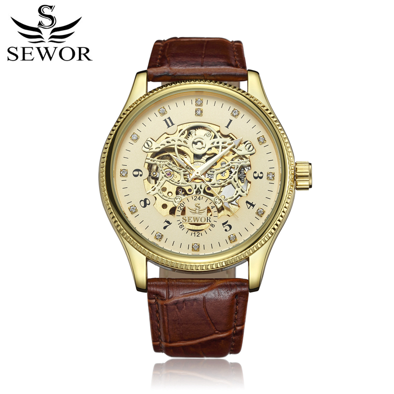 SEWOR Mechanical Automatic Self-Wind Watch for Men Leather Mecanico Skeleton Male watches Luxury Waterproof With Box SWQ50 fashion men mechanical hand wind watches men skeleton stainless steel wristwatches for male luxury golden watch men
