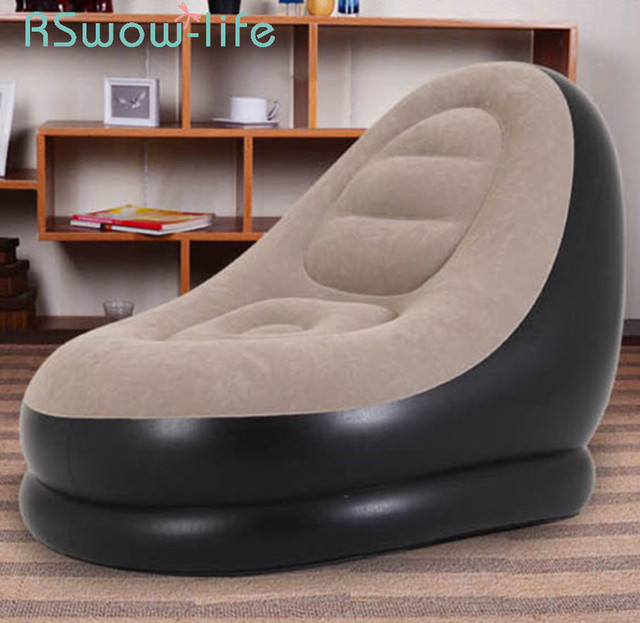 3Pcs Inflatable Sofa Single Leisure Lazy Sofa Lunch Break Recliner Cushion Sofas + Ankle + Electric Pump Outdoor Cushions