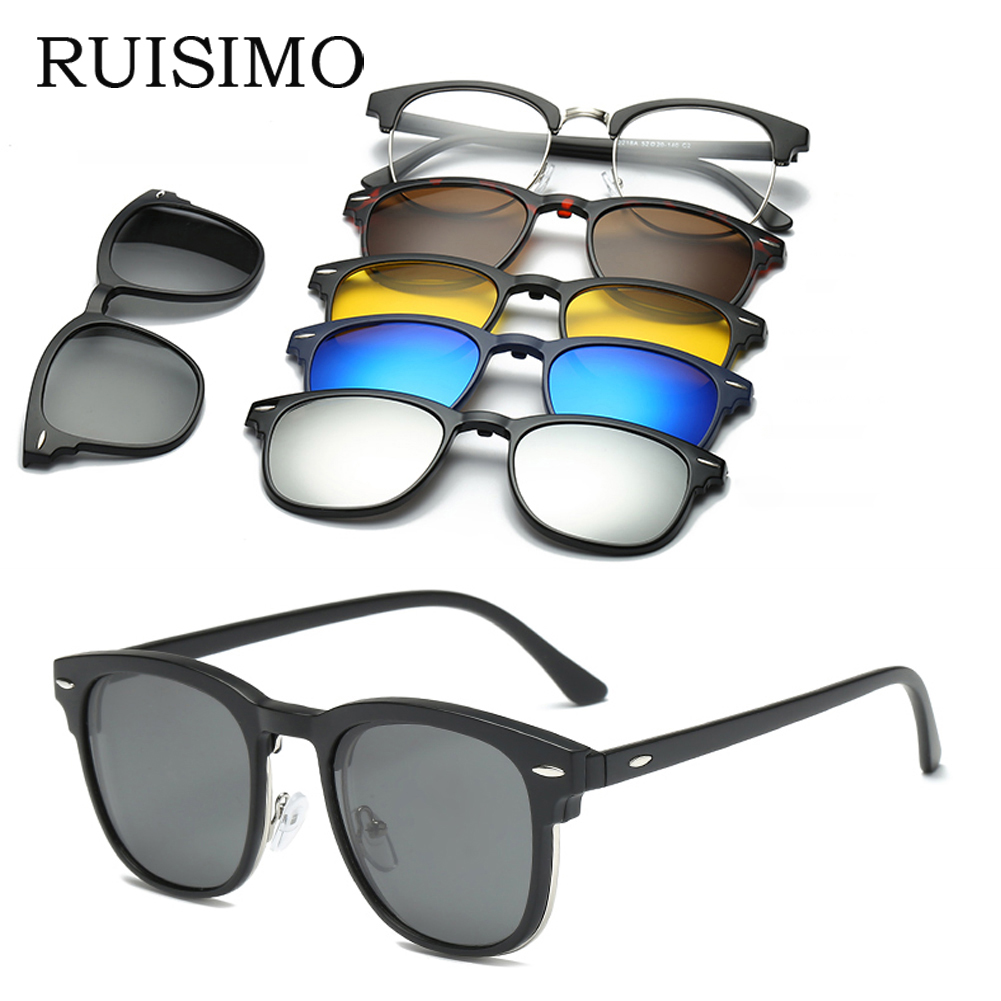 RUISIMO 5 Lenes Magnet Sunglasses Clip Mirrored Clip On Sunglasses Clip On Glasses Men Polarized Custom Prescription Myopia