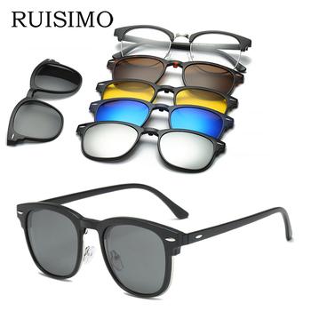 RUISIMO 5 lenes magnes okulary przeciwsłoneczne klip lustrzane okulary przeciwsłoneczne w formie nakładki klip na okulary mężczyźni spolaryzowane niestandardowe krótkowzroczność na receptę tanie i dobre opinie Plac Lustro Antyrefleksyjną UV400 Z tworzywa sztucznego Dla dorosłych Polaroid 40mm 50mm 5 lens