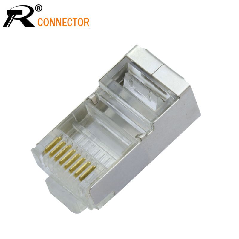 10pcs 8P8C Crystal 8Pin RJ45 Modular Plug Rj-45 Network Cable Connector Adapter For Cat6 Rj45 Ethernet Cable Plugs Heads