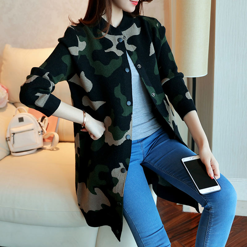 Dames 2019 White Single Automne armygreen Printemps Cardigan Camouflage Chandail Casual Baseball Tnlnzhyn Y433 Veste breasted Tricot Femmes pink Manteau Ayw7fUWqd